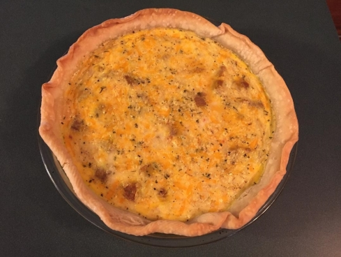 Egg pie with turkey sausage and cheese